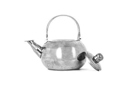 stainless steel background: Tea Kettle isolated on white background. Stock Photo