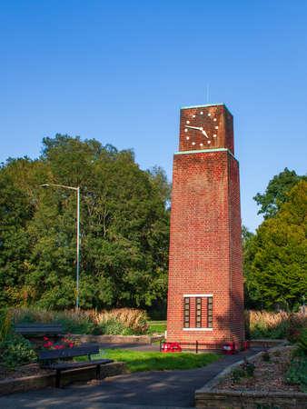 The clock tower war memorial in New Bradwell, Milton Keynes United Kingdom. it is a grade II listed Building commemorating World War II