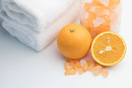 Spa concept, orange with spa salts Standard-Bild