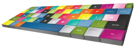 tastatur: special keyboard colored - spezialtastatur bunt Stock Photo