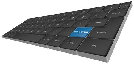 tastatur: keyboard with special button gefã¤llt mir - keyboard mit sondertaste gefã¤llt mir Stock Photo