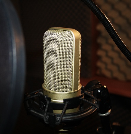 nger: Modern and expensive studio microphone with spider
