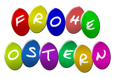 Ostern: Frohe Ostereier (Happy Eastereggs) as colorful illustration - Frohe Ostereier als bunte Illustration