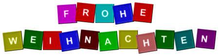 weihnachten: Frohe Weihnachten shown as small gifts - Frohe Weihnachten als kleine Geschenke dargestellt