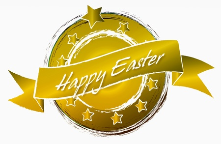Ostern: Frohe Ostern  Happy Easter  as colorful banner - illustration Stock Photo