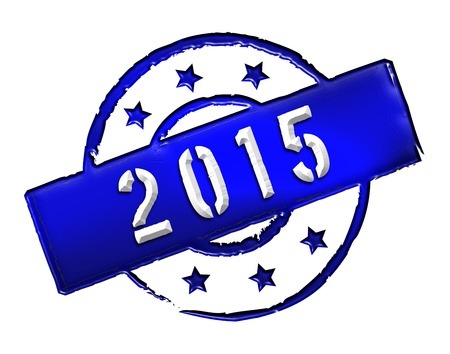 Sign and stamp named 2015 for your presentation, for websites and many more  Stock Photo - 13279950