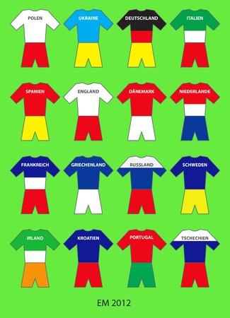 Illustration of all 16 Teams of the European Football Championship 2012 Stock Illustration - 13281066