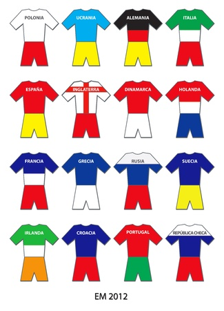 tricot: Illustration of all 16 Teams of the European Football Championship 2012 - Ilustración de los 16 equipos del Europeo de Fútbol UEFA 2012