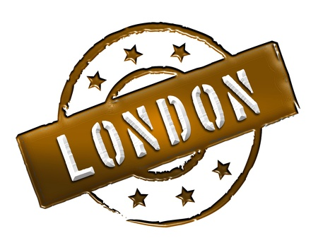etikett: Sign and stamp for your presentation, for websites and many more named LONDON Stock Photo