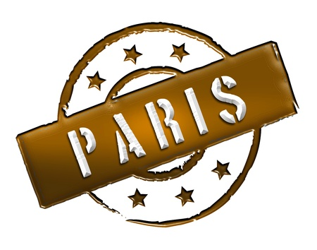 Sign and stamp for your presentation, for websites and many more named PARIS Stock Photo - 13424426