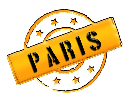 Sign and stamp for your presentation, for websites and many more named PARIS Stock Photo - 13424442