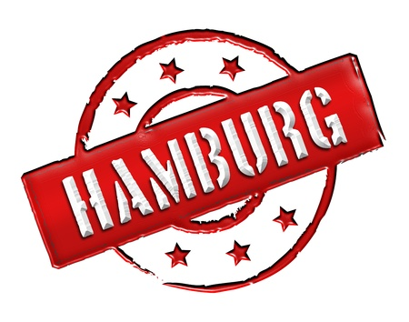 Sign and stamp for your presentation, for websites and many more named HAMBURG Stock Photo