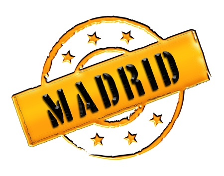 etikett: Sign and stamp for your presentation, for websites and many more named Madrid
