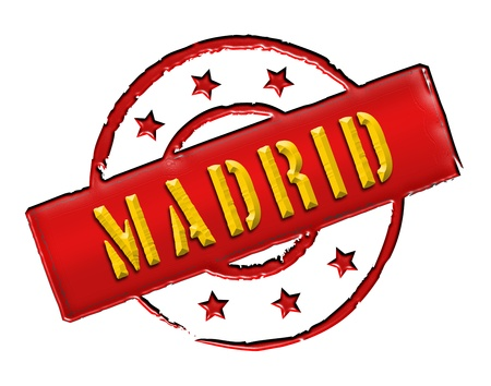 Sign and stamp for your presentation, for websites and many more named Madrid