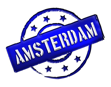 Sign and stamp for your presentation, for websites and many more named Amsterdam Stock Photo - 13424496