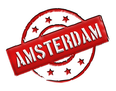 Sign and stamp for your presentation, for websites and many more named Amsterdam photo