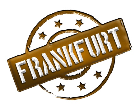 etikett: Sign and stamp for your presentation, for websites and many more named Frankfurt Stock Photo