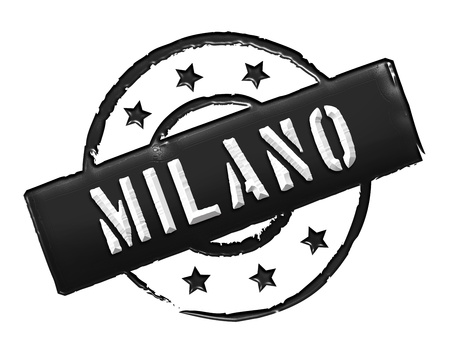 etikett: Sign and stamp for your presentation, for websites and many more named Milano Stock Photo