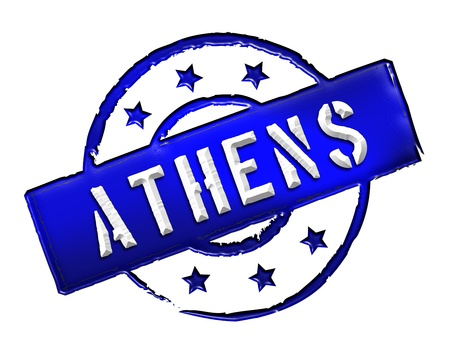 etikett: Sign and stamp for your presentation, for websites and many more named Athens