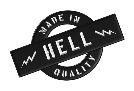 engel: Made in Hell - Quality seal for your website, web, presentation Stock Photo