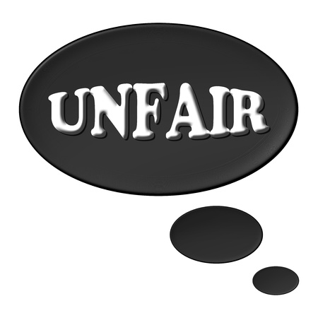 unfair: Thought balloon for your presentation with the message unfair