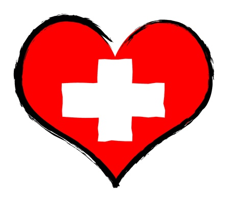 Switzerland - The beloved country as a symbolic representation as heart Stock Photo