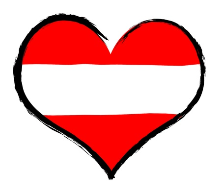 atilde: Austria - The beloved country as a symbolic representation as heart Stock Photo