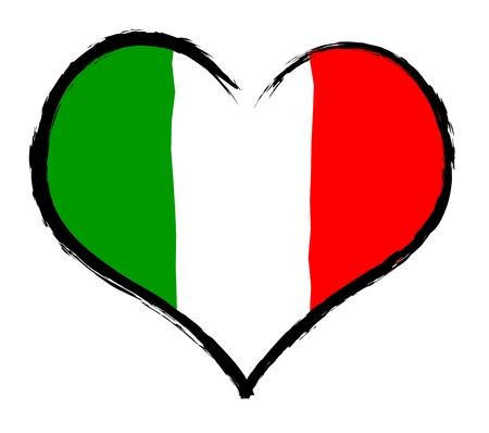 Italië - De geliefde land als een symbolische representatie als hart Stockfoto - 13527760