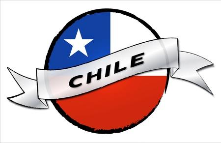 bandera de chile: C�rculo de la Tierra CHILE - su pa�s se muestra como estandarte ilustrado para su presentaci�n o como un bot�n ...