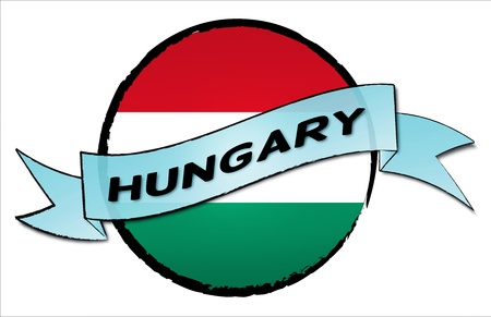 Circle Land HUNGARY - your country shown as illustrated banner for your presentation or as button...
