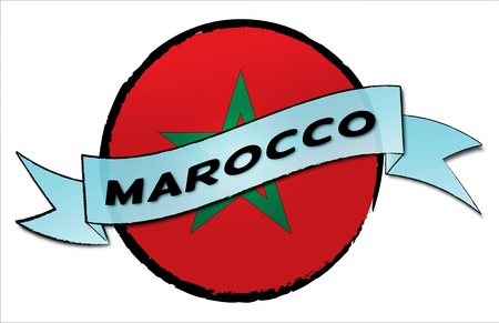 Marocco: Circle Land Marocco - your country shown as illustrated banner for your presentation or as button