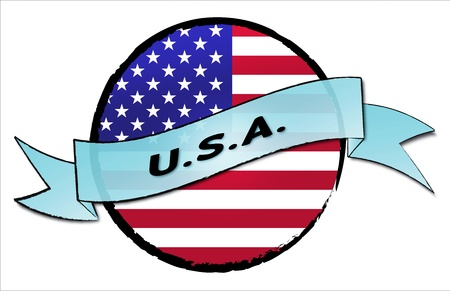 u s a: U S A  - your country shown as illustrated banner for your presentation or as button    Stock Photo