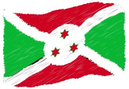 Sketch - Burundi - The beloved country as a symbolic representation as heart - Das geliebte Land als symbolische Darstellung als Herz