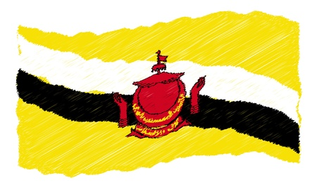 als: sketch - Brunei - The beloved country as a symbolic representation as heart - Das geliebte Land als symbolische Darstellung als Herz