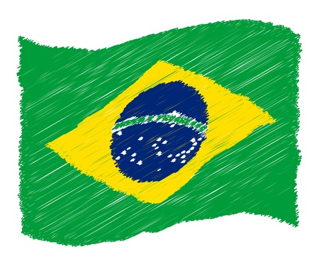 sketch - Brazil - The beloved country as a symbolic representation as heart - Das geliebte Land als symbolische Darstellung als Herz Stock Photo - 13631438