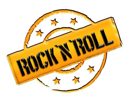 Onderteken en stempel voor uw presentatie, voor websites en nog veel meer genaamd Rock'n'Roll Stockfoto