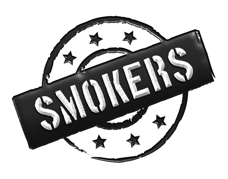 stempel: Sign and stamp for your presentation, for websites and many more named Smoker Stock Photo