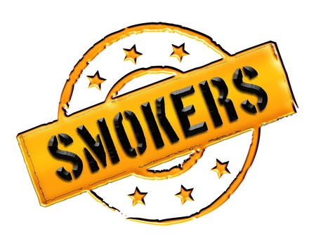 etikett: Sign and stamp for your presentation, for websites and many more named Smoker Stock Photo