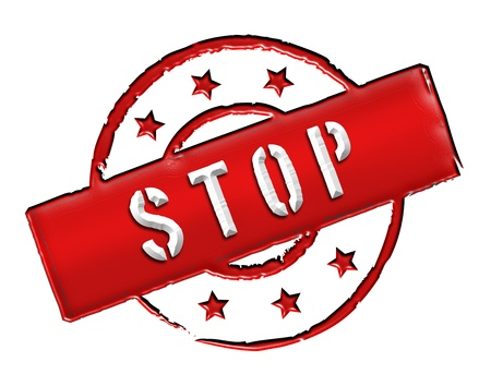 ende: Sign and stamp for your presentation, for websites and many more named STOP Stock Photo