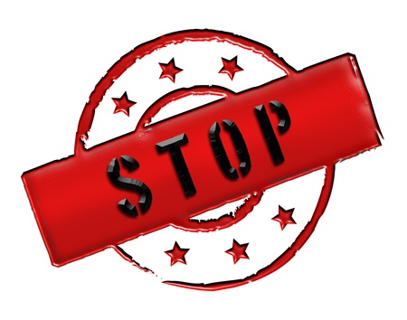 Sign and stamp for your presentation, for websites and many more named STOP Stock Photo - 13751713