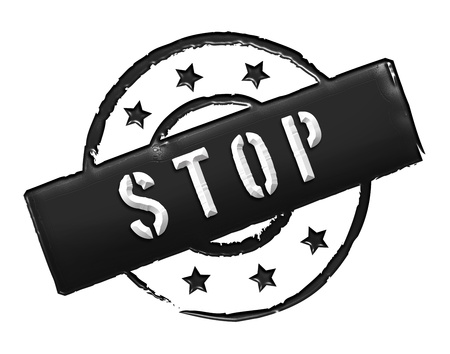 etikett: Sign and stamp for your presentation, for websites and many more named STOP Stock Photo