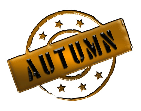stempel: Sign and stamp for your presentation, for websites and many more named AUTUMN Stock Photo