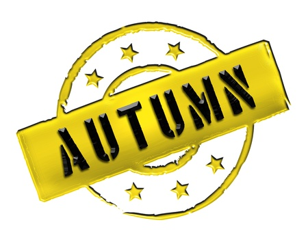 achtung: Sign and stamp for your presentation, for websites and many more named AUTUMN Stock Photo