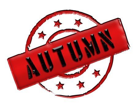 frhling: Sign and stamp for your presentation, for websites and many more named AUTUMN Stock Photo