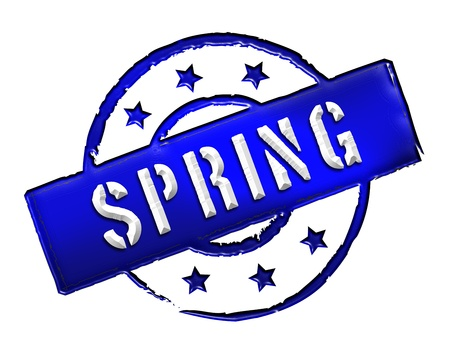 achtung: Sign and stamp for your presentation, for websites and many more named SPRING Stock Photo