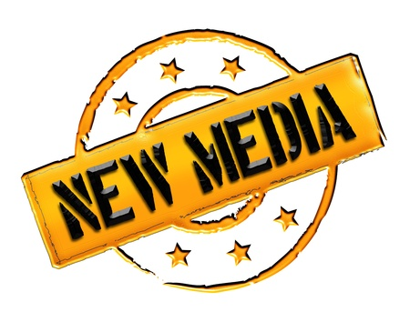 etikett: Sign, symbol, stamp or icon for your presentation, for websites and many more named NEW MEDIA Stock Photo