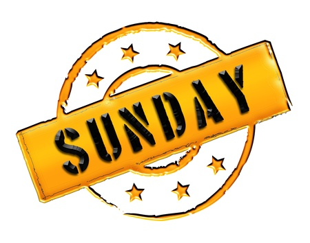 sonntag: Sign, symbol, stamp or icon for your presentation, for websites and many more named SUNDAY