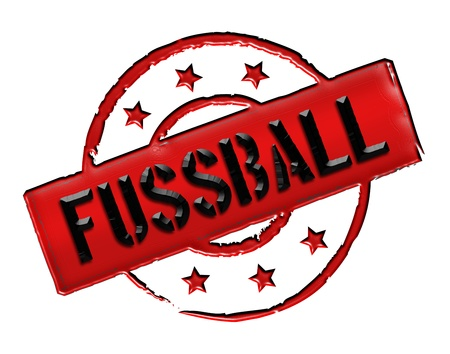 achtung: Sign, symbol, stamp or icon for your presentation, for websites and many more named FUSSBALL Stock Photo
