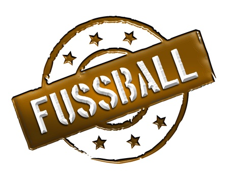 etikett: Sign, symbol, stamp or icon for your presentation, for websites and many more named FUSSBALL Stock Photo