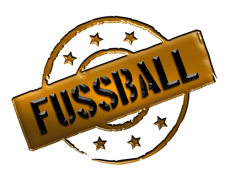 Sign, symbol, stamp or icon for your presentation, for websites and many more named FUSSBALL Stock Photo